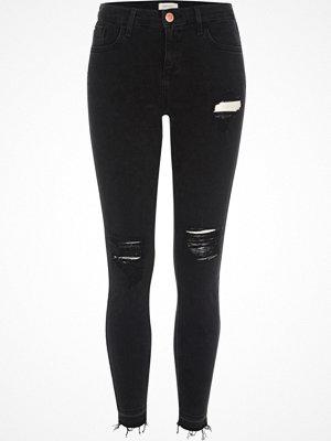 River Island Black Amelie ripped super skinny jeans