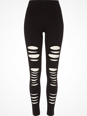 Leggings & tights - River Island Black ripped high waisted leggings