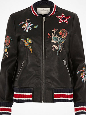 River Island Black faux leather embroidered bomber jacket