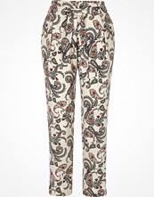 River Island White paisley print tie waist trousers