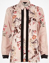 River Island Pink floral print contrast placket shirt