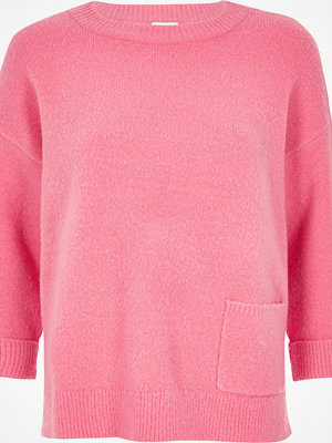 River Island Pink knit pocket jumper