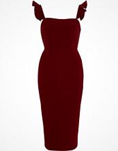 River Island Dark red frill cami bodycon midi dress