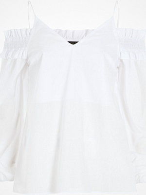 River Island White long sleeve bardot cami strap top
