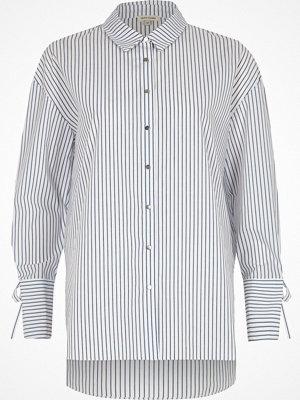 River Island Navy stripe tie cuff oversized shirt