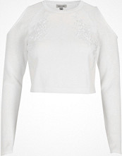 River Island White knit cold shoulder long sleeve crop top