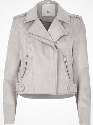 River Island River Island Womens Light Grey faux suede biker jacket