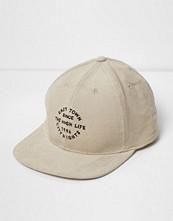 Mössor - River Island Stone 'High Life' embroidered corduroy cap