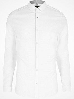 River Island White textured semi cutaway skinny fit shirt