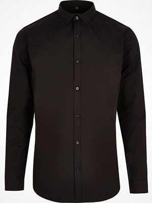 Skjortor - River Island Black slim fit long sleeve smart shirt