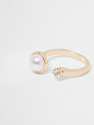 River Island Gold tone pearl and diamante open ring