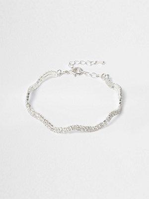 River Island armband Silver tone wavy diamante encrusted bracelet