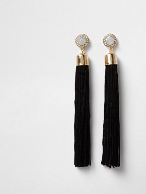 River Island örhängen Gold tone diamante black tassel drop earrings