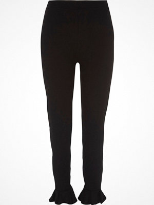 Leggings & tights - River Island Black frill hem leggings