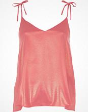 River Island Pink metallic bow shoulder cami top