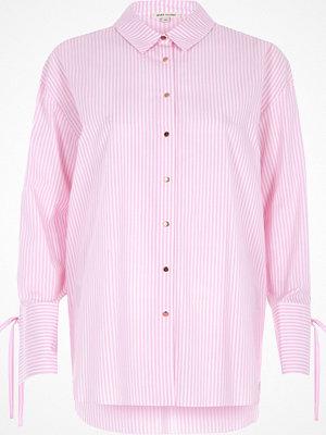 River Island River Island Womens Pink stripe tie cuff oversized shirt