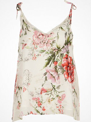 River Island Petite white floral bow shoulder cami top