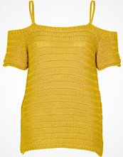 River Island Dark yellow knit cold shoulder top