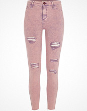 Jeans - River Island Pink acid wash Molly ripped jeggings