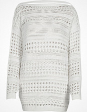 River Island White knit open stitch V back jumper