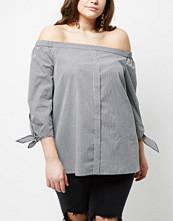 River Island Plus blac check print tie sleeve bardot shirt