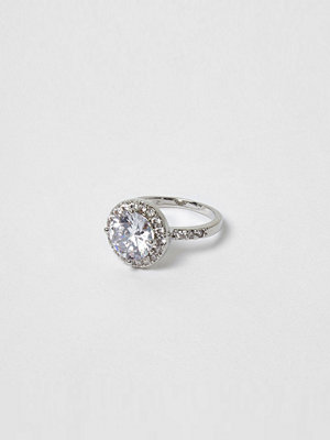 River Island Silver tone diamante ring