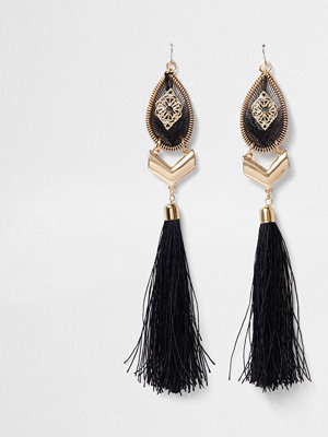 Smycken - River Island Gold tone statement tassel drop earrings