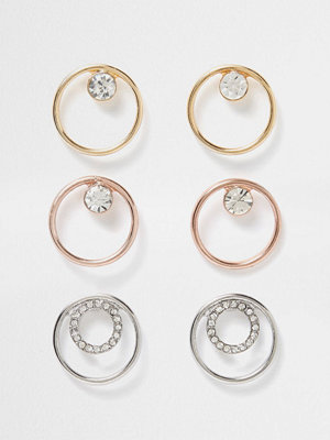 Smycken - River Island Metal diamante circle earring pack