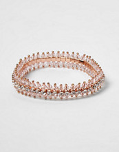 Smycken - River Island Rose gold diamante bracelet