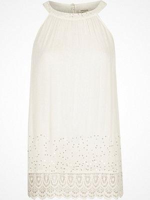 River Island Cream sequin lace hem sleeveless top