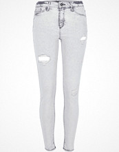 Jeans - River Island Grey acid wash Molly ripped jeggings