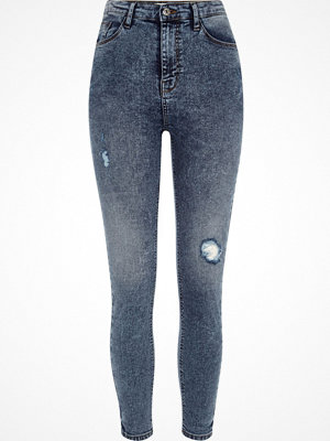 Jeans - River Island Blue rip Harper high waisted skinny jeans