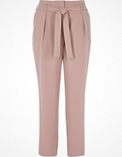 River Island Pink tie waist tapered trousers