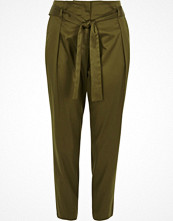 River Island Khaki green tie waist tapered trousers