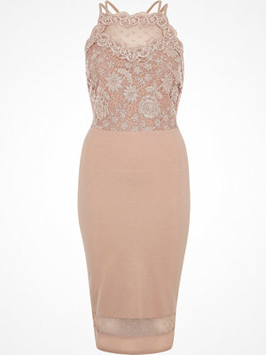 River Island Pink sleeveless lace bodycon dress