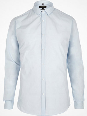 Skjortor - River Island Light Blue slim fit long sleeve smart shirt