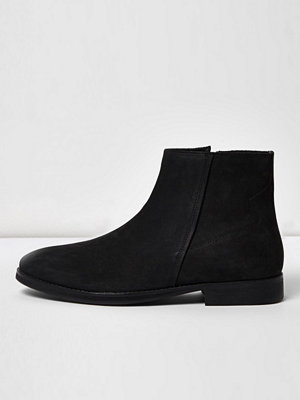 River Island Black nubuck leather zip boots