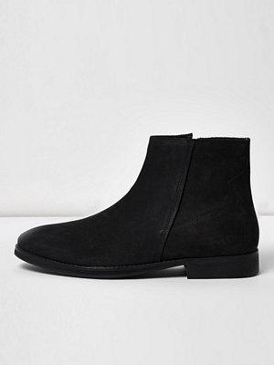 Boots & kängor - River Island Black nubuck leather zip boots