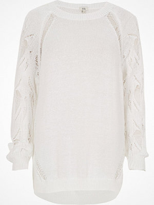 River Island White knit ladder sleeve jumper