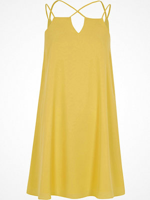 River Island Yellow cross strap slip dress