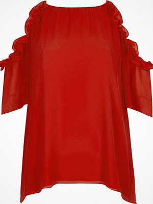 River Island Red frill cold shoulder top
