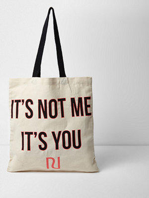 River Island väska med tryck Beige 'it's not me it's you' shopper tote bag