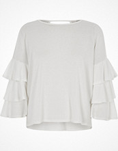 River Island White frill sleeve top