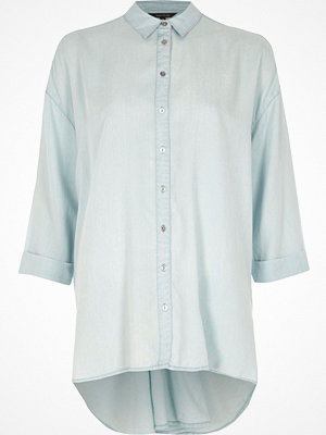 River Island Blue twist back long sleeve shirt