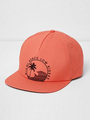 Mössor - River Island Orange 'Miami Beach' flat peak cap