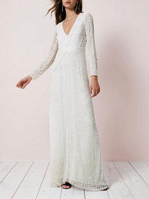 River Island Cream sequin long sleeve maxi dress
