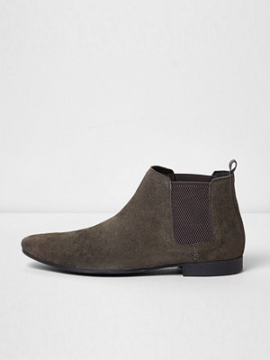 Boots & kängor - River Island Grey suede chelsea boots