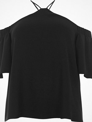 River Island Plus black cross neck cold shoulder top