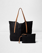 Handväskor - River Island Black leather winged tote bag