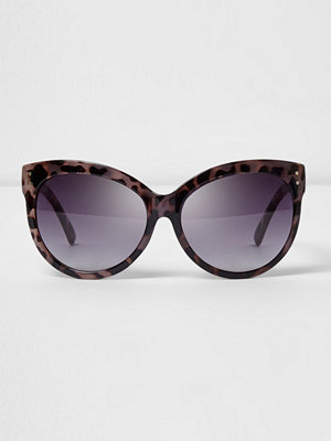 Solglasögon - River Island Purple tortoiseshell oversized sunglasses